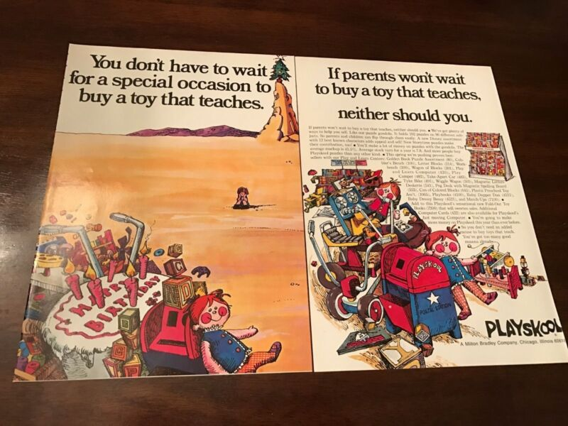 1972 VINTAGE ADVERTISING PRINT 4 PG AD PLAYSKOOL TEACHING LEARNING TOYS puzzles