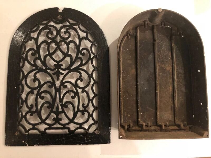 Antique Vintage Cast Iron Arch Top Tombstone Ornate Grate Heater Vent Register
