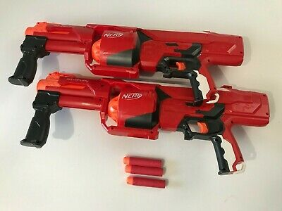 Lot of 2 Nerf Mega Rotofury Pump Mega Dart Blaster Gun Red C-2822A 2014