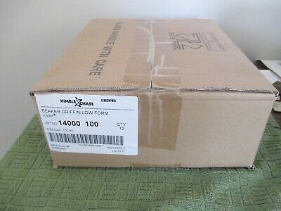 Kimble 1400-100 Low Form Griffin Glass Beakers 100ml Pack Of 12 New In Box