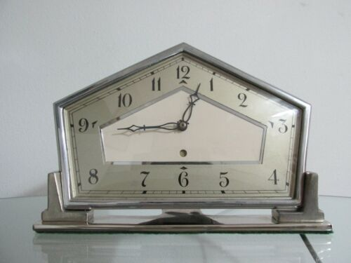 Art Deco  Chrome Smiths Electric Mantel Clock 1930s Working