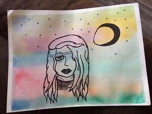 Hippy inspired water colour painting