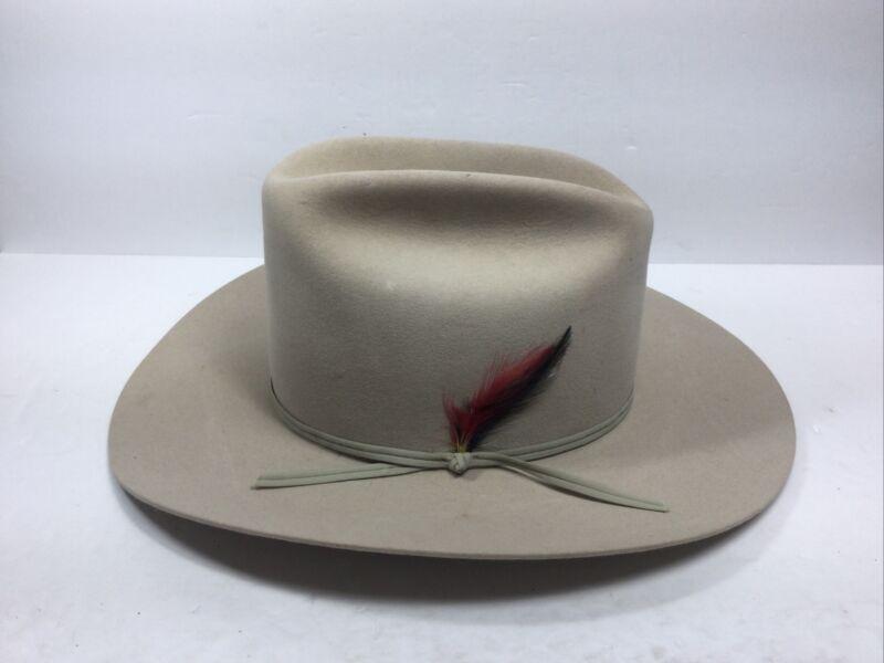 Vintage John B Stetson Cowboy Hat 4x Beaver Western Ranch Silver Belly Sz 7 3/8