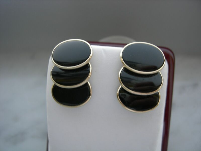 14 K YELLOW GOLD BEZEL SET OVAL SHAPE BLACK ONYX EARRINGS