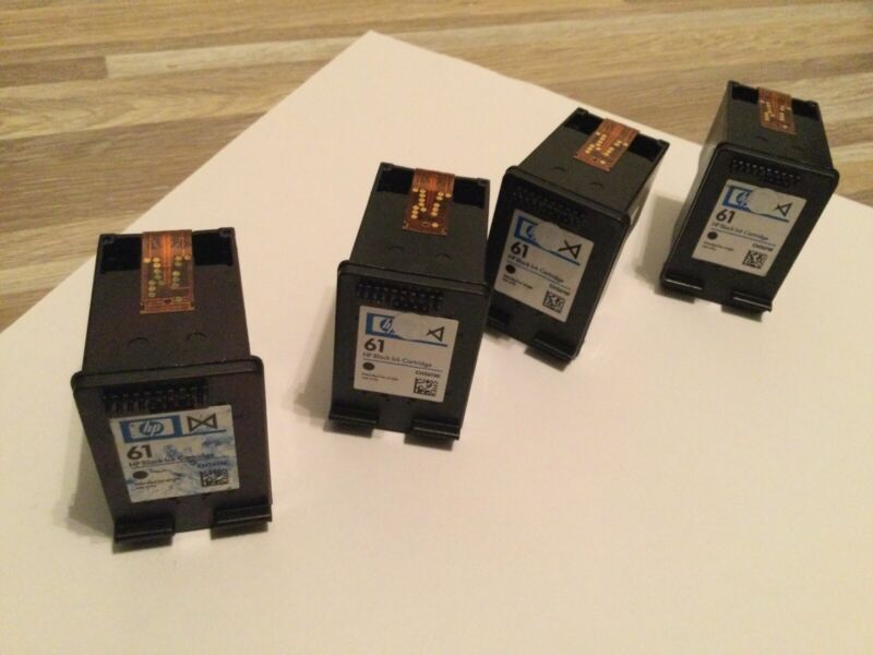 4 HP61 Empty Black Ink Cartridges For Refill, REFILLED THESE ALREADY, NOT VIRGIN