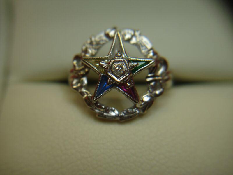 VINTAGE 10K WHITE GOLD EASTERN STAR RING WITH MULTI-COLOR GEMSTONES
