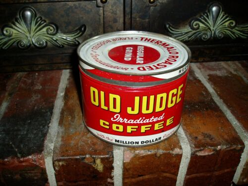 Vintage Old Judge 1 Pound Coffee Can Tin With Lid