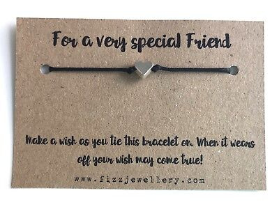 For A Very Special Friend Silver Heart Message Card Wish Bracelet Gift (Christmas Wishes For A Very Special Friend)