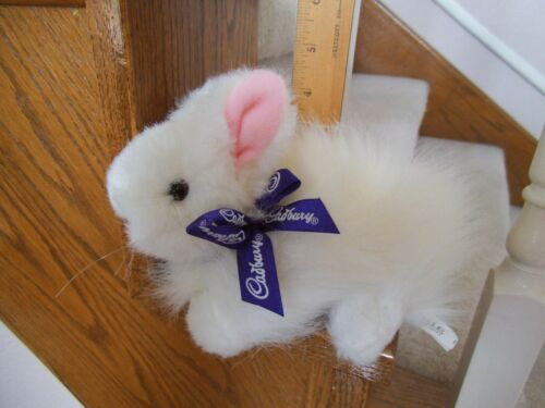 CADBURY WHITE BUNNY WITH SOUNDS 6 INCHES PURPLE RIBBON FREE SHIPPING