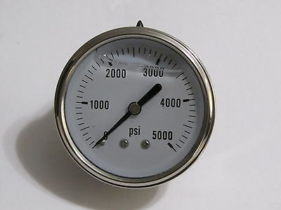 New Hydraulic Liquid Filled Pressure Gauge 0-5000 Psi 14 Npt Center Back Mount