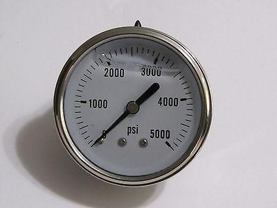 New Hydraulic Liquid Filled Pressure Gauge 0-5000 Psi 14 Npt Cbm 2.5 Face