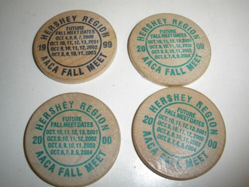 lot of 4 Hershey Automobile Club 1999 & 2000 Wooden Nickles