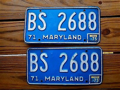 1975 MARYLAND PAIR LICENSE PLATE TAG NUMBER BS 26 88 CLASSIC MD BS YOM 1971 *