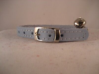 LEATHER PALE BLUE CAT COLLAR
