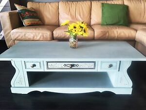 2 tier blue and gold coffee table shabby chic style