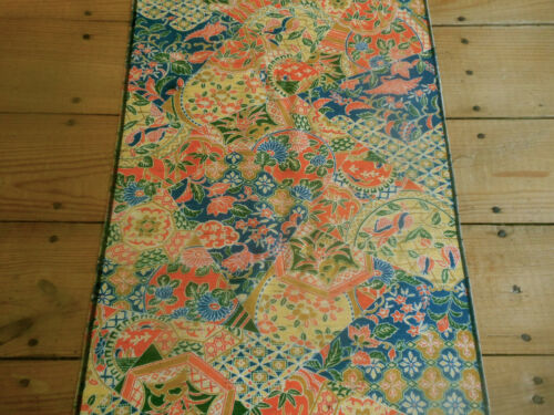 Vintage Chinoiserie Silk Fabric ~ Boho patchwork pattern ~ orange blue green