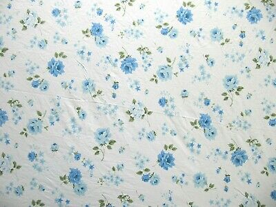 Vintage King Size Floral Fitted Sheet White with Blue Roses Flowers - Floral Fitted Sheet