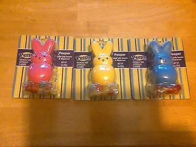 Lot of 3 Peeps Bunny Peepers jelly bean dispensers, yellow blue pink, 1 oz ea - Yellow Jelly Beans