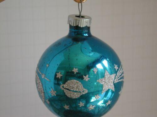 Vintage Shiny Brite Planet Stars Crescent Moon Christmas Ornament