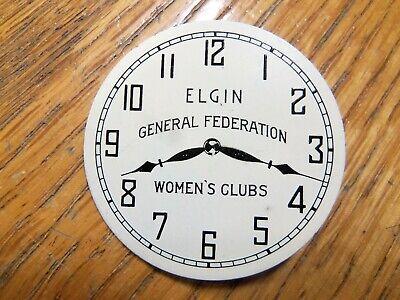 VINTAGE POCKET WATCH DIAL PINBACK BUTTON ELGIN GENERAL FEDERATION WOMEN'S CLUB