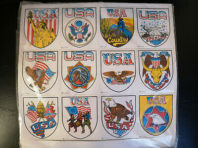 Lot of 12 Original 70's Vintage Stickers USA Theme  New From Old Stock  No repro