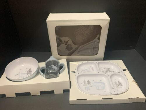 Pottery Barn Kids POLAR BEAR Baby Feeding Set Plate Bowl Cup CHRISTMAS Toddler
