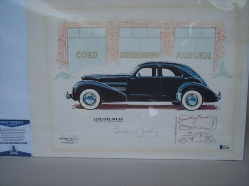 1936 CORD SEDAN LITHOGRAPH SIGNED BY DESIGNER GORDON BUEHRIG WITH BECKETT COA
