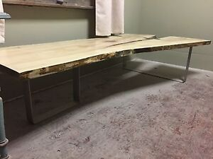 Live edge silver maple coffee table y-slab with stainless steel  Peterborough Peterborough Area image 3