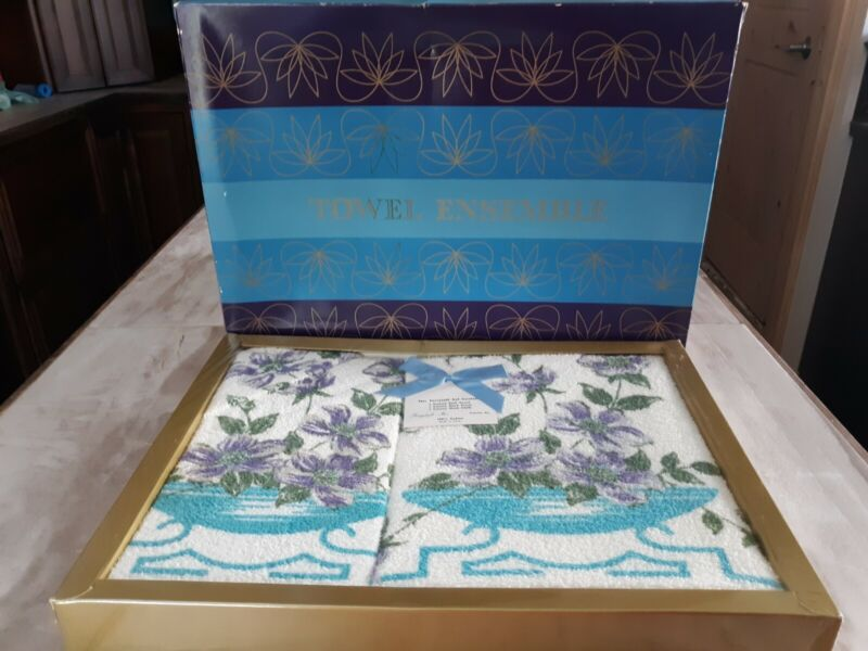 Vintage Gift Boxed Terry Cannon Bath Hand Washcloth Towel Set Blue Lavender NOS!