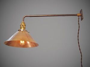 vintage industrial wall mount light brass shade. Black Bedroom Furniture Sets. Home Design Ideas
