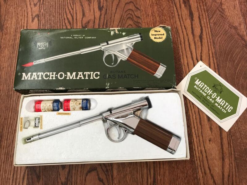 Vintage 60's NIB Match-O-Matic pistol shaped lighter