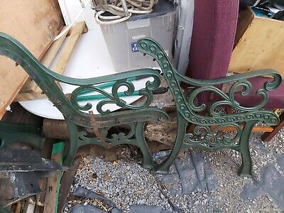 Cast Iron Bench Ends Green In Very Good Condition