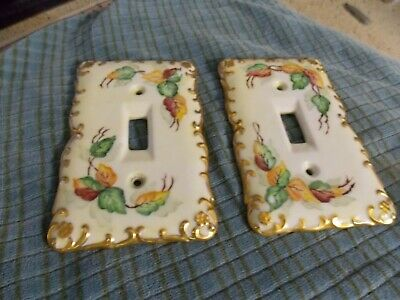 Vintage Hand Painted IVY & Gold Edge Porcelain Switch Plate Cover Lot Of 2 VG ! (Ivy Porcelain)