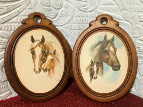 Vintage Pair Paul Whitney Hunter Horses Mare/Foal Portrait Prints On Wood Backs