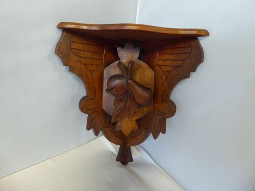 Antique Victorian/Eastlake Carved Wood Fruit Corner Shelf