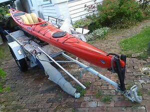 Kayak on rubberized steel cradle and trailer for sale Sandy Bay Hobart City Preview
