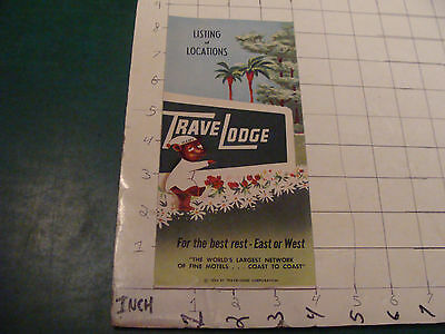 Vintage Paper item: TRAVEL LODGE Listings & Locations brochure c.1954