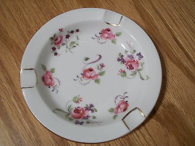 Vintage Gold Trimmed Royal Chelsea China Pink Roses Purple Floral Ashtray