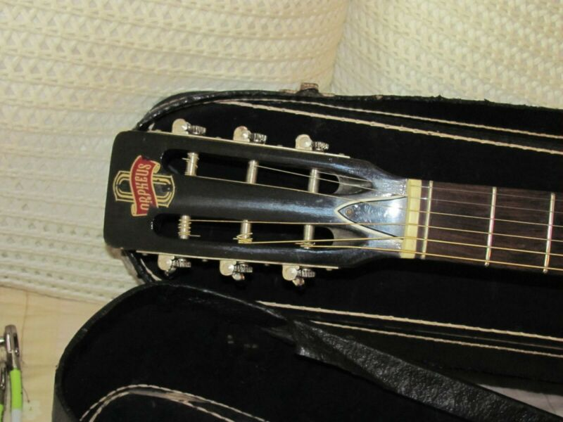 1969-70 ORPHEUS 00 SIZE ACOUSTIC GUITAR SLOTTED HEADSTOCK/JAPAN/CHIPBOARD CASE