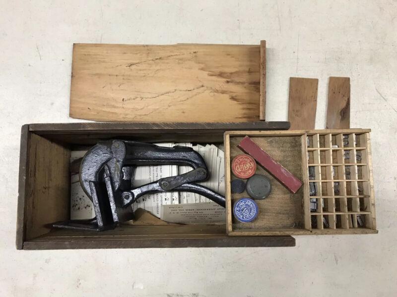 Baltimore Printing Press No. 5 Cast Iron Antique Tabletop, Original Box, Letters
