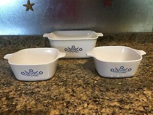 Three small Corning Ware Iconic Cornflower Dishes