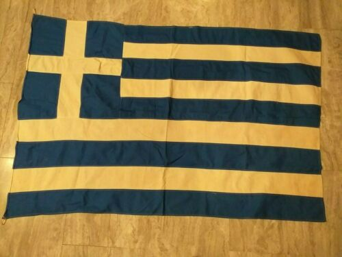 Vintage Greece Greek Cotton Flag 117x84cm!!