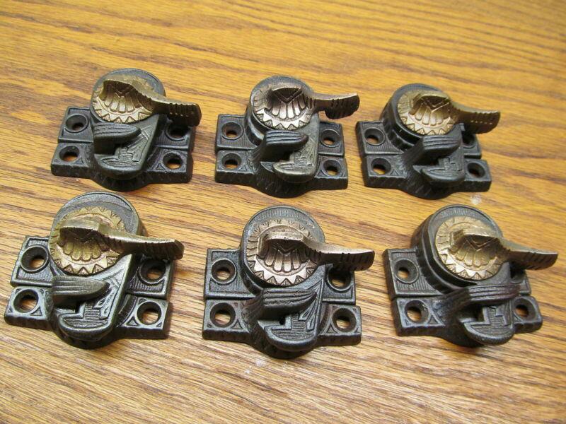 LOT OF 6 OLD EASTLAKE EAGLE CLAW WINDOW SASH LOCKS..ORNATE DETAIL..BRASS HANDLE