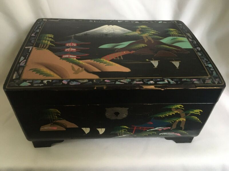 Vintage Jewelry Music Box Hand Painted Black Lacquer w/ Abalone Inlay