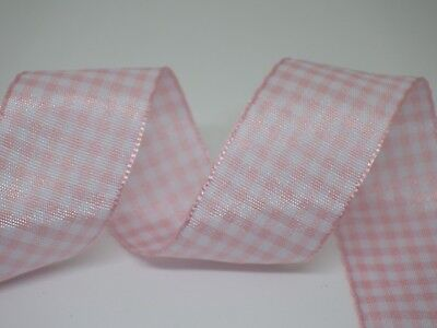 Pale Pink Gingham Check Ribbon 25mm in 2m or 3m cut lengths - free postage (Pale Pink Ribbon)
