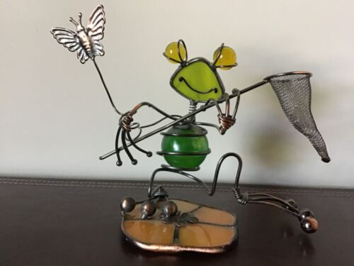 Vintage Kinetic Handmade Copper Metal and Glass FROG and BUTTERFLY Art Sculpture