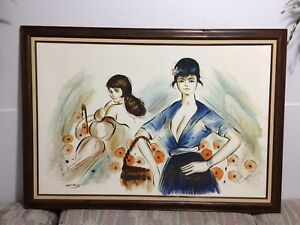 Vintage Original Acrylic Painting 'Flower Girls' - Signed