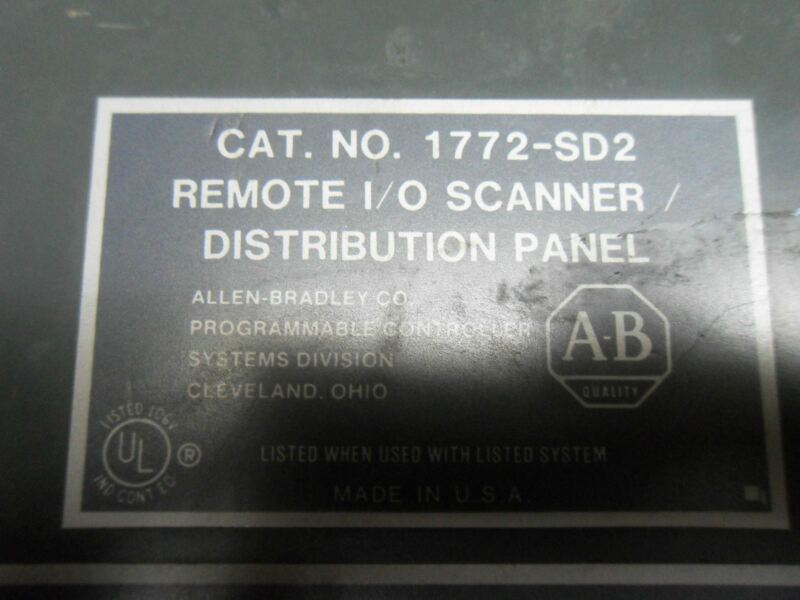(X6-2) 1 USED ALLEN BRADLEY 1772-SD2 REMOTE I/O SCANNER DISTRIBUTION PANEL