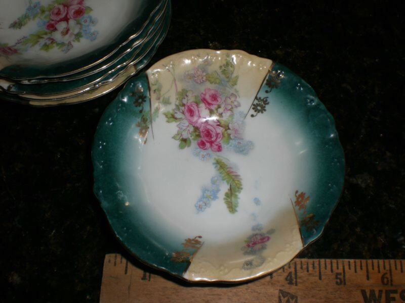 Antique Porcelain German Dessert  Fruit Rose Bowl Green  Franconia  (6)