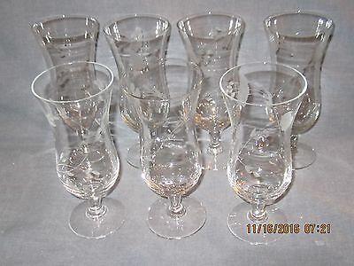 Set of 7 Vintage Parfait Glasses  - Etched Floral Pattern